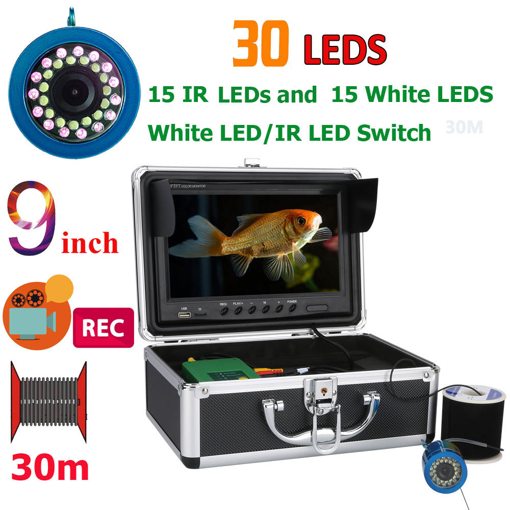 """9"""" Inch DVR Recorder 30M 1000TVL Fish Finder Underwater Fishing Camera 15pcs White Leds + 15pcs Infrared Lamp For Ice/Sea/River"""