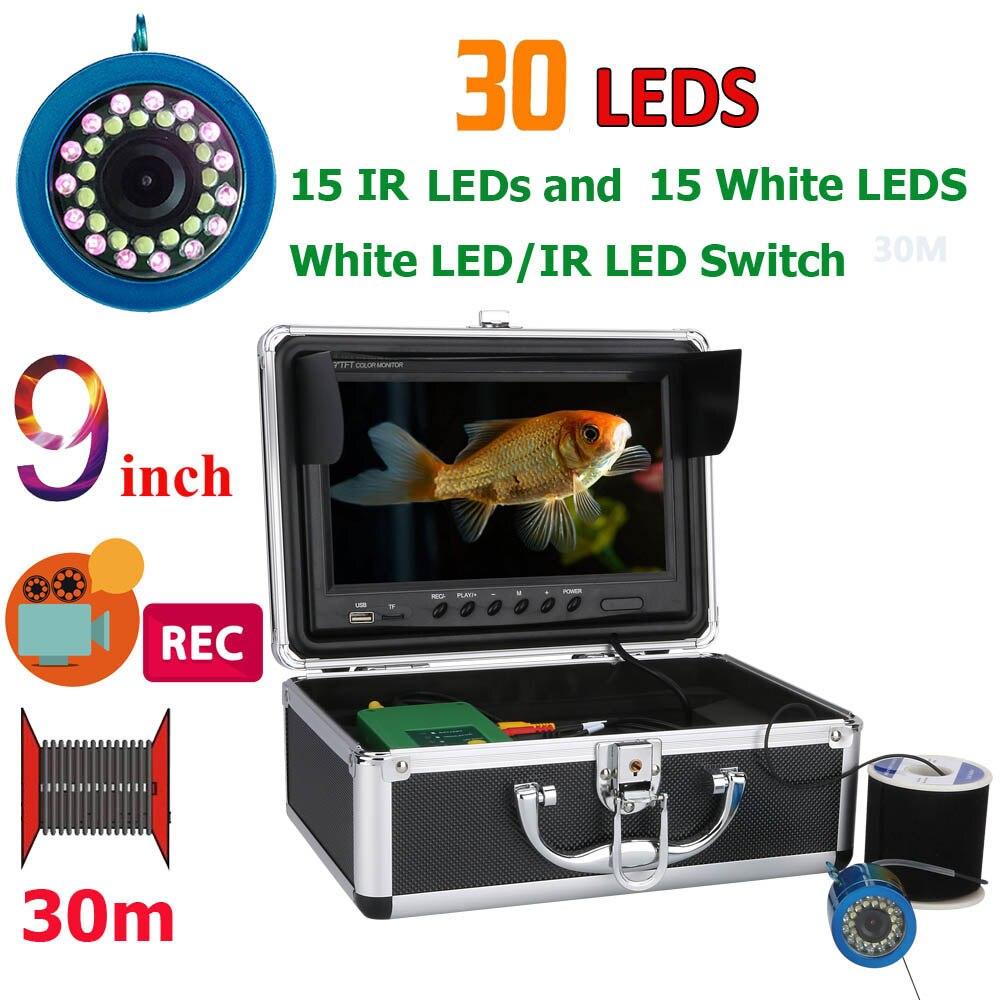 9 pouces DVR Enregistreur 30 m 1000TVL Fish Finder Sous-Marine Pêche Caméra 15 pcs Blanc Led + 15 pcs infrarouge Lampe Pour Glace/Mer/Rivière