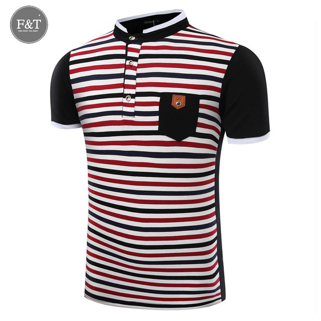 [Asian Size] Summer Short Sleeve Mens Polos Homme Collar Tops Cotton Pocket Design Contrast Color Brand  Striped polo shirt