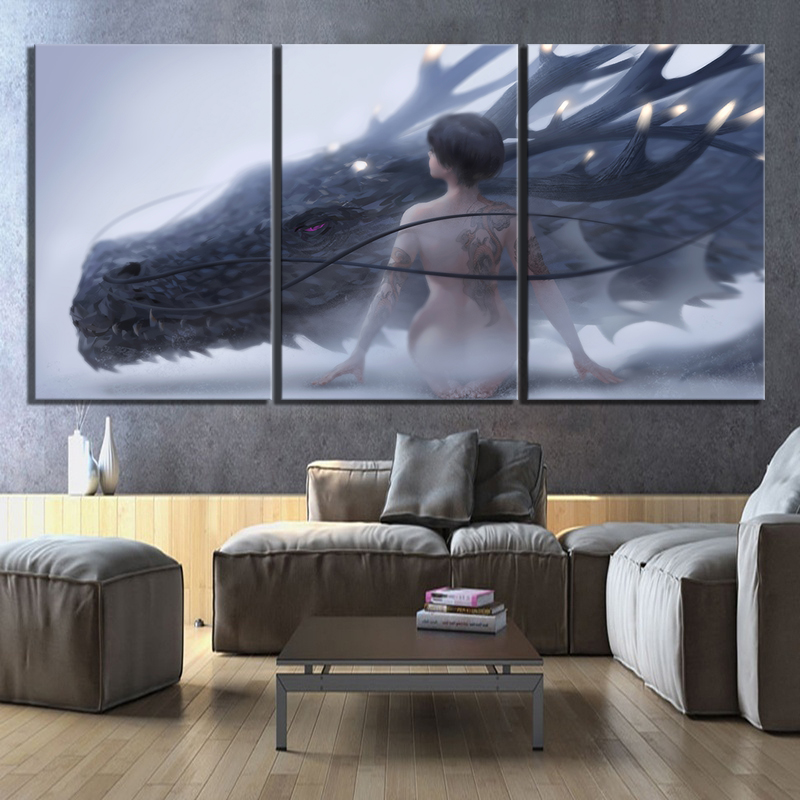 3 Piece Fantasy Art HD Pictures Dragon and Sexy Girl Poster Artwork Paintings Game of Thrones Poster Wall Art for Home Decor
