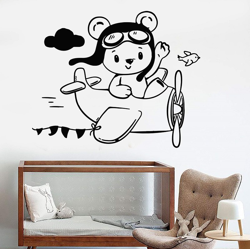 Vinyl wall applique small teddy bear pilot aircraft children room decoration sticker, boy decoration,  ET36