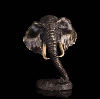 Art Bronze décoration de la maison Sculpture Éléphant Figurine feng shui Statue sculptures Éléphant Buste Tête elefante bronze escultura