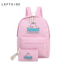 LeftSide школьные сумки для подростков девочек 2017 Холст Рюкзаки милые сумки печати рюкзаки 2 шт./компл. симпатичный ноутбук рюкзаков