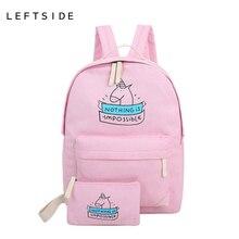 Leftside mochilas escolares para las niñas adolescentes 2017 de lona impresión mochilas mochilas bolsos lindos 2 unids/set lindo laptop back packs
