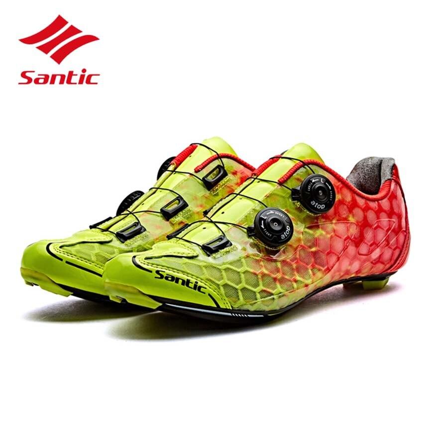 Santic chaussures de cyclisme hommes 2018 respirant chaussures de vélo de route course en Fiber de carbone semelle Auto-verrouillage chaussures de vélo Sapatilha Ciclismo