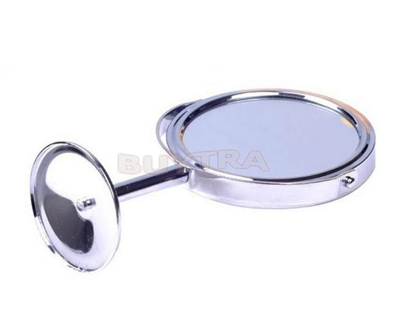 Stainless Steel Holder Cosmetic Bathroom Double-Sided Desk Makeup Mirror Dia 8cm Make Up Mirrors Women Ladies Home Office Use image
