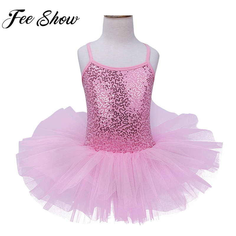 c1fdc8db29bf Sweet Kids Girls Fancy Glitter Sequined Ballet Dance Leotard Tutu ...