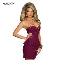 Maijion 2017 أزياء المرأة مثير حمالة سليم اللباس ، برشام غمد ملفوفة الصدر معطلة الكتف البسيطة peplum اللباس