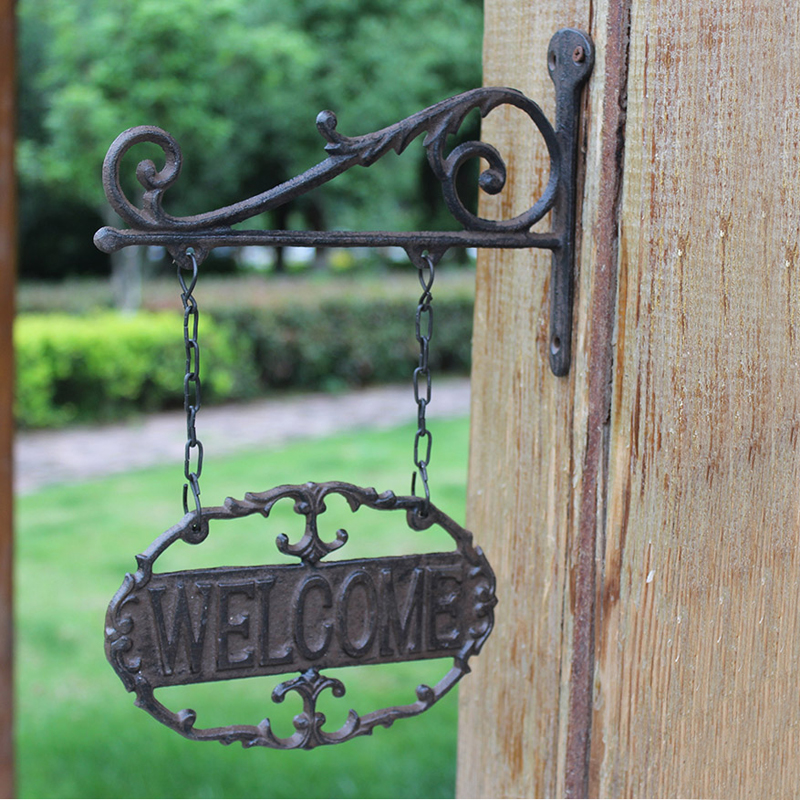 Oval Rustic Cast Iron Welcome Sign Plaques Outdoor Double-sided Wall Mounted Hanging Metal Welcome Plaques Hollow Retro Plaques image
