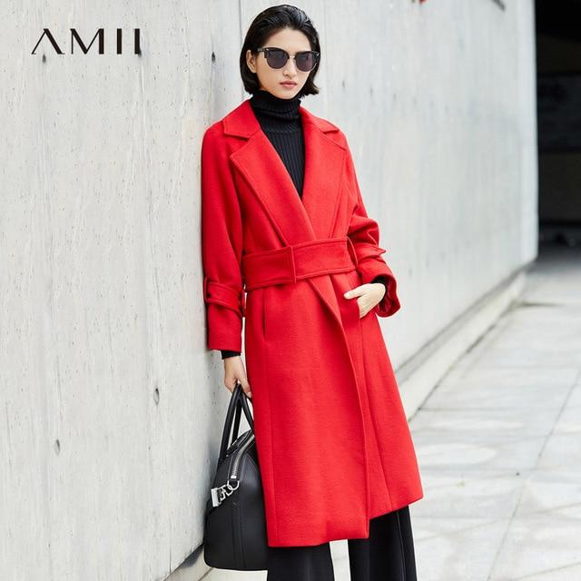045cfe766 US $64.99 50% OFF|Amii Minimalist Wool Coat Women Autumn Winter 2018 Office  Solid Belt Turn Down Collar Cool Woolen Long Jackets Coat-in Wool & Blends  ...