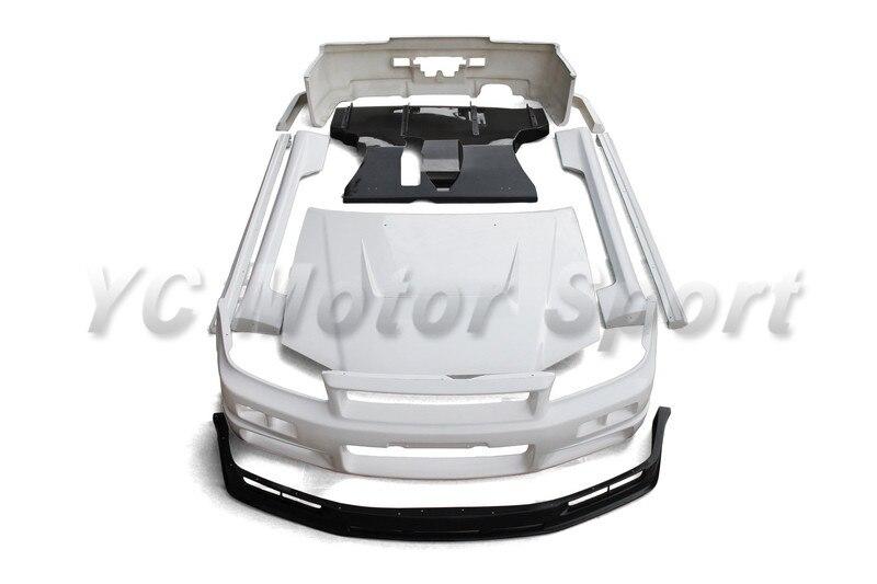 Kits de carrosserie en Fiber de verre FRP adaptés pour 1999-2000 R34 GTT 2D GTR capot pare-chocs avant lèvre côté jupe sous-bord arrière diffuseur Spats