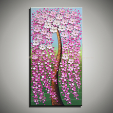 Vertical landscape pink acrylic tree knife painting flower picture handmade oil painting on canvas modern abstract single blue