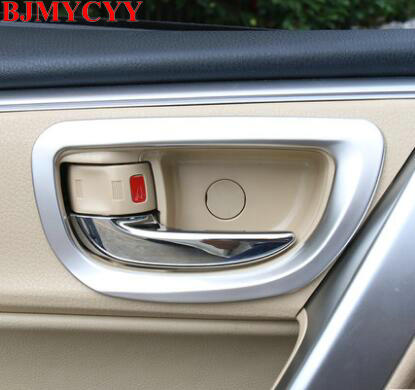 BJMYCYY car stainless steel Chrome Interior door shake handshandle decoration sequins For Toyota corolla 2014