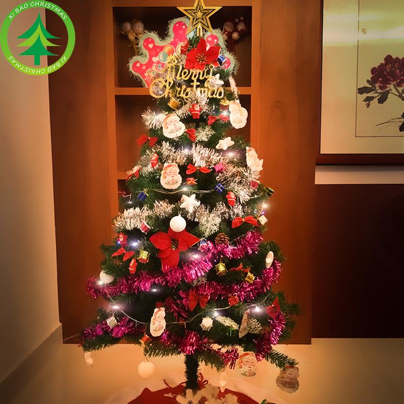 la familia de la navidad del rbol de navidad set metros equipada con decoracin