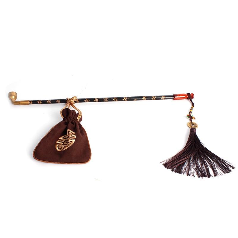 Pipas Vintage de Tallo largo chino para fumar tabaco, pipas de madera y Rojo jade para fumar, regalo S/M/L/XL Firedog, bolsa de viaje portátil de PU negro, cubierta de tubo para fumar individual, bolsa de tabaco para pipa