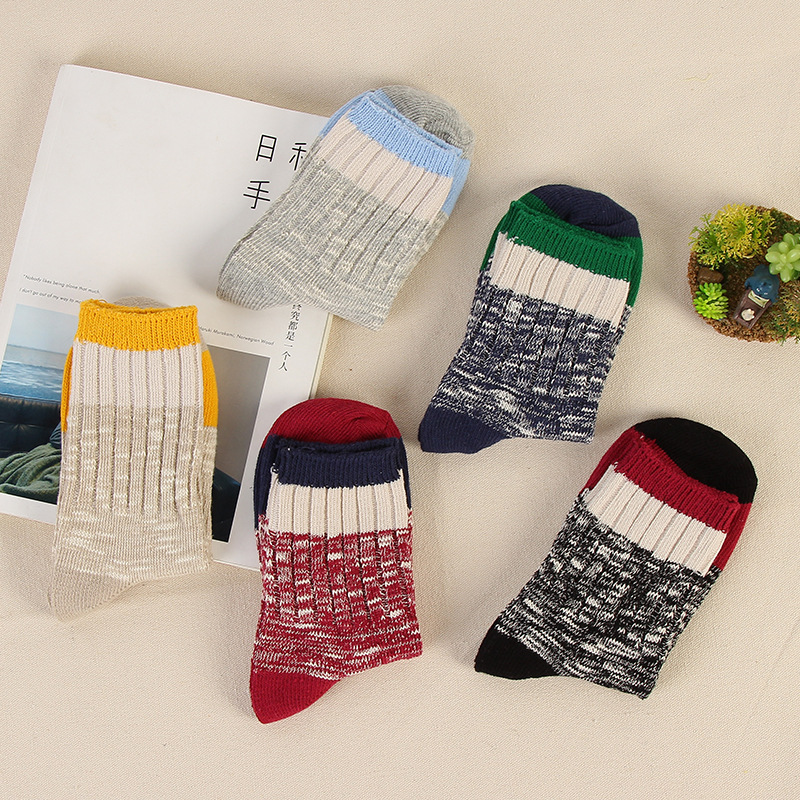 New Ethnic Stripe Warm Sock Hosiery Women Heren Sokken Color Rush Wool Fluffy Cute Terry Christmas