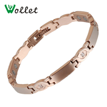 Wollet Jewelry Health Energy Zircon Germanium  Tourmaline Infrared Negative Ion Bio Magnetic Titanium Bracelets For Women