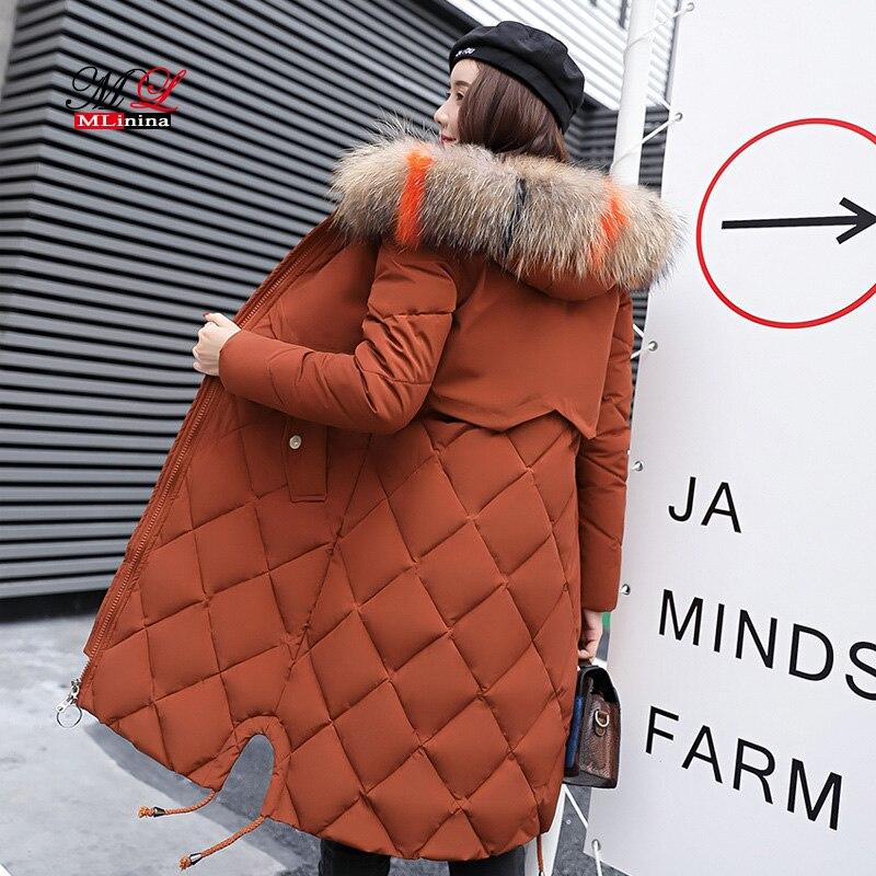 MLinina Winter Jacket Women 2018 Cotton Coats Big Fur Collar Female   Parka   Thick Cotton Padded Jackets Lining Ladies Outerwear