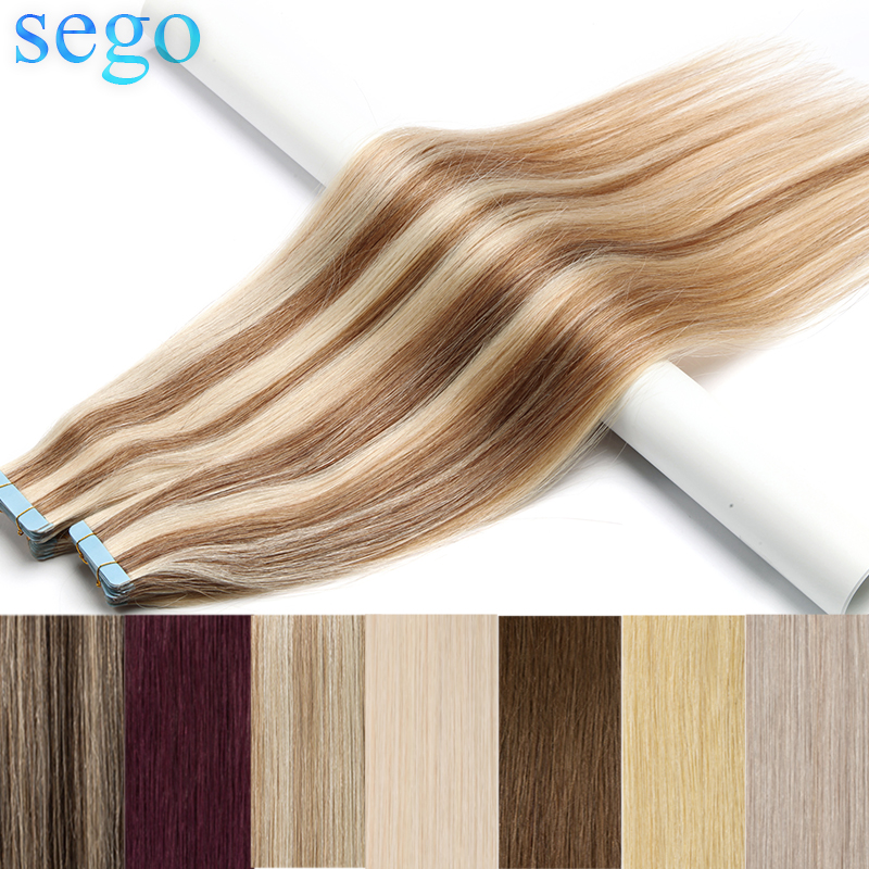 """SEGO 12""""14""""16""""18""""20""""22""""24"""" Skin Weft Human Hair Straight 20pcs Tape In Extension Non-Remy Hair Double Sided Tape Hair 2.5G/S 50G(China)"""