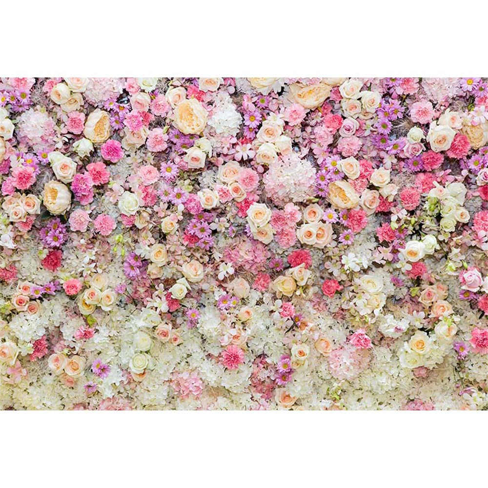 Pink Cream White Flowers Wall Baby Newborn Photography Backdrops Printed Spring Blossoms Wedding Floral Photo Booth Background