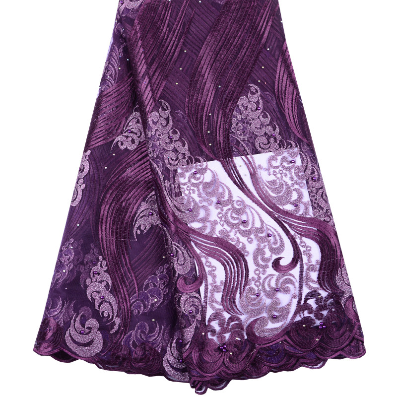 Royal Purple African Lace Fabric 2019 High Quality Nigerian Lace Fabrics With Beads Embroidery French Tulle