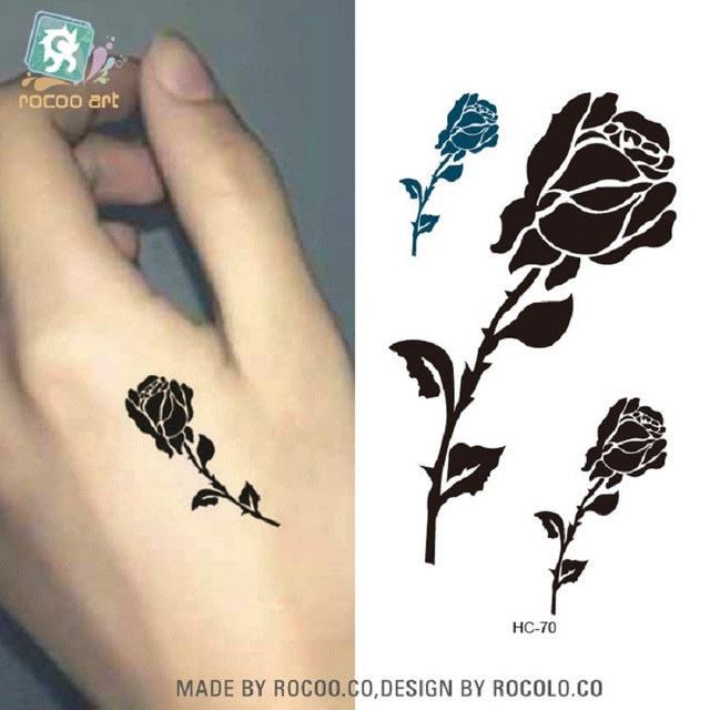2pcs Lots The Male And Female Tiger Tattoo Stickers Waterproof Rose
