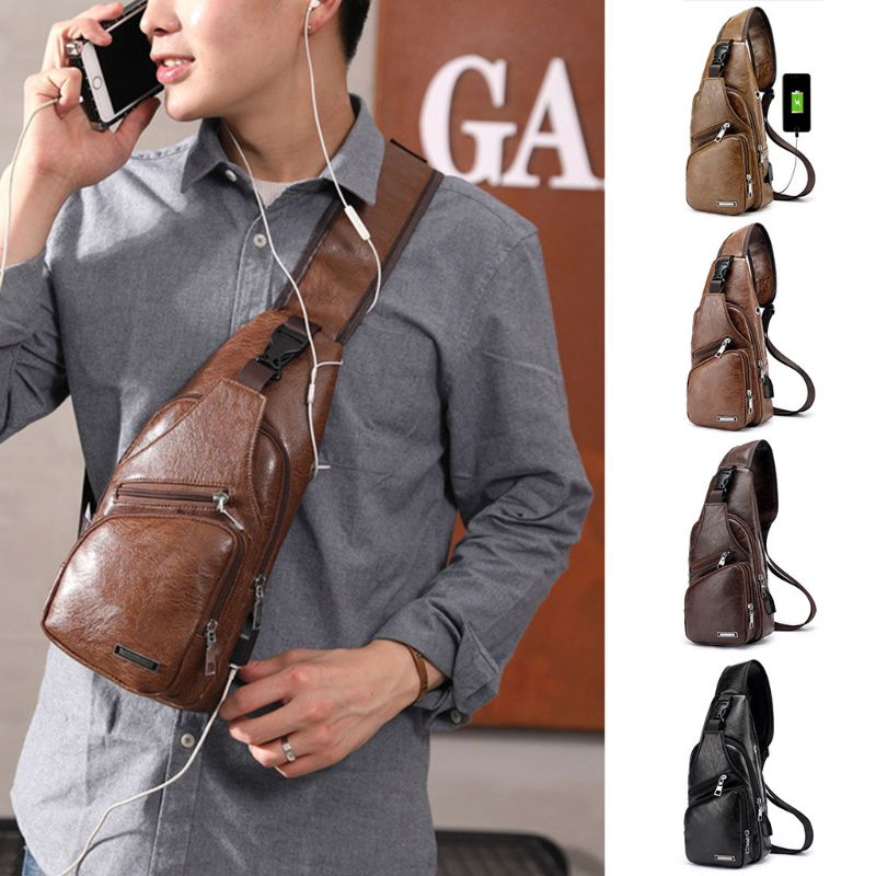 Fashion Men's Chest Bag USB Charging Port Earphone Hole Messenger Sling Sport Travel Crossbody Shoulder Pack Bag New 4 Colors
