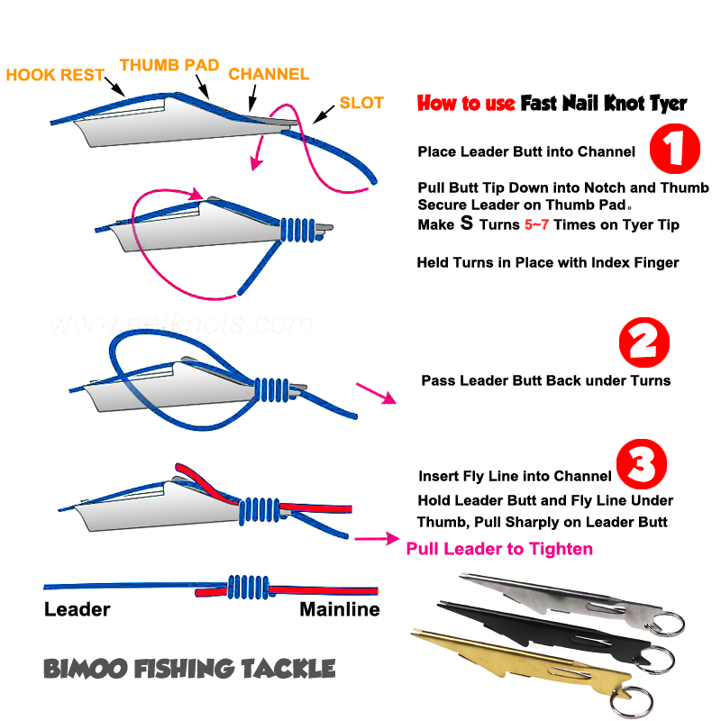 Bimoo Fast Fly Fishing Nail Knot Tyer Fishing Fly Hook Knot Tool With Extractor Zinger Fishing Tackle Accessory Tools