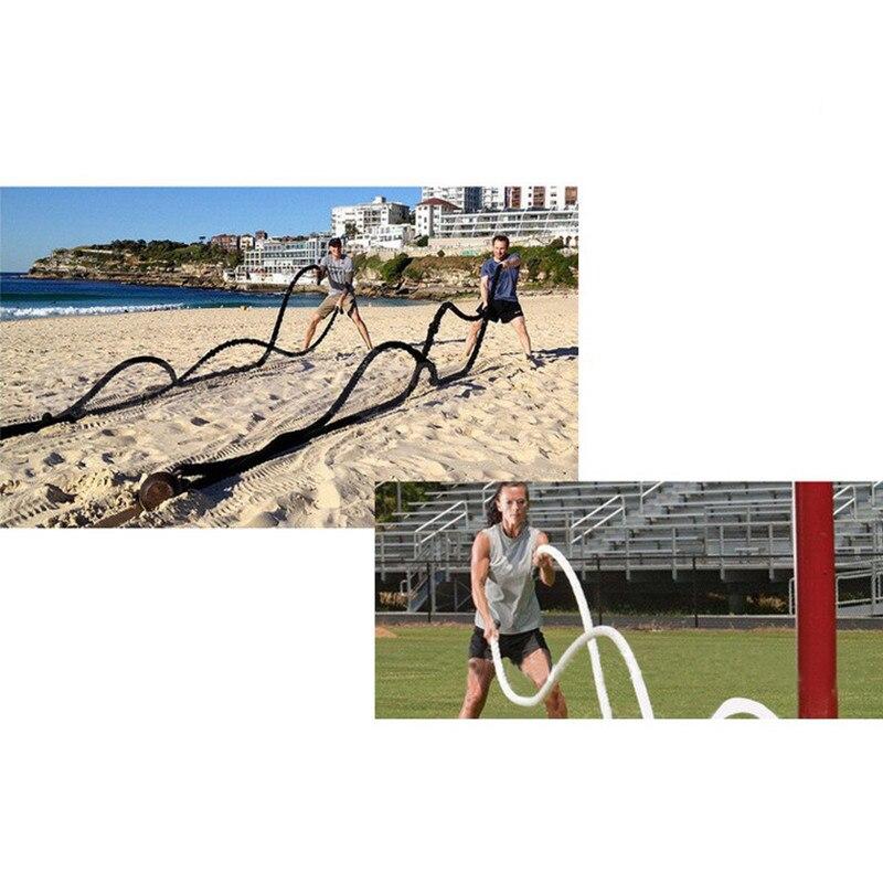 12 M/15 M Dacron matériel lourd noir or corde de combat physique musculation entraînement Sport Fitness exercice corde d'entraînement - 5