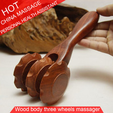 Rosewood & Fragrant Wood Three Wheels Massage Relax Abdominal Back Body Healthcare Massager