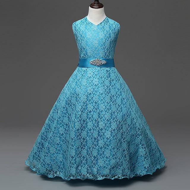 Европейский Vestidos Летние девушки одеваются ребенка девушка одежда Кружева рукавов Дети девушки принцесса платья для 6-15Y Девочек одежда