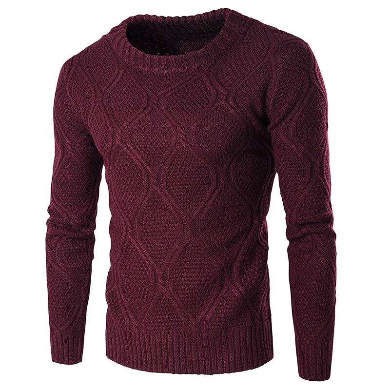 2019 Sweater Men Woolen Knitwear Men O Neck Long Sleeve Slim Warm Sweaters Grometric Pull Homme Beige Pulllvers Knitwear