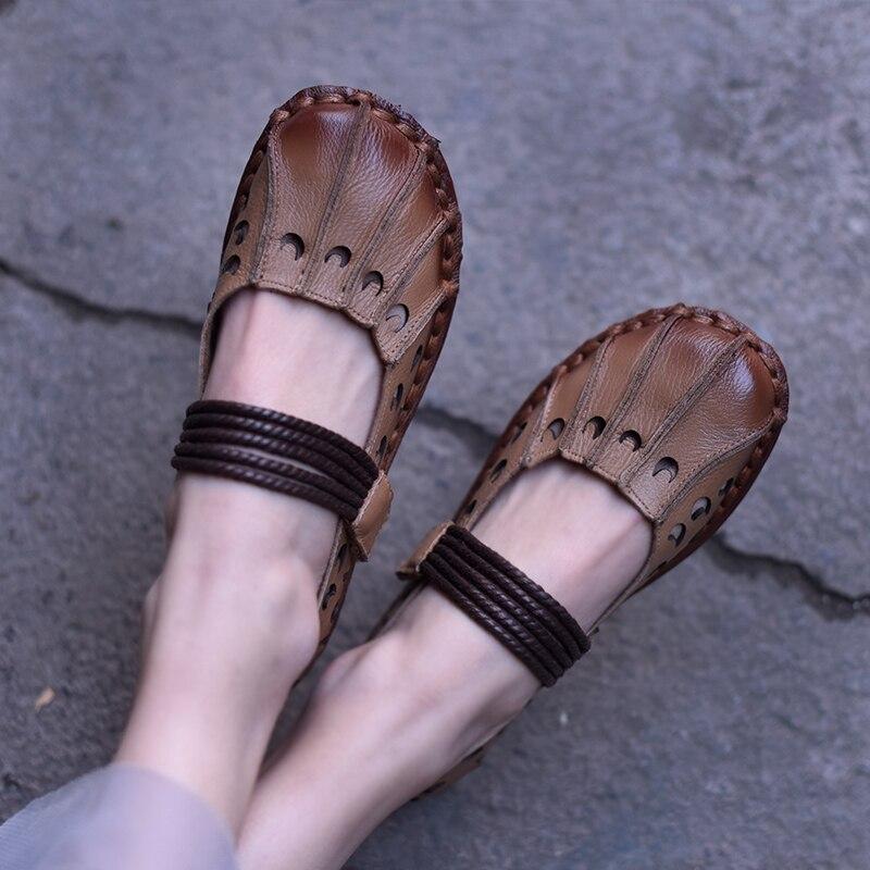 Artmu جديد شقة الضحلة الفم أحذية من الجلد الجوف التدريجي لينة اليدوية النساء أحذية 7927-في أحذية نسائية مسطحة من أحذية على  مجموعة 3