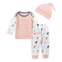 2017 nieuwe lente herfst baby herten lange t-shirt + broek hoed 3 stuk kinderkleding groothandel