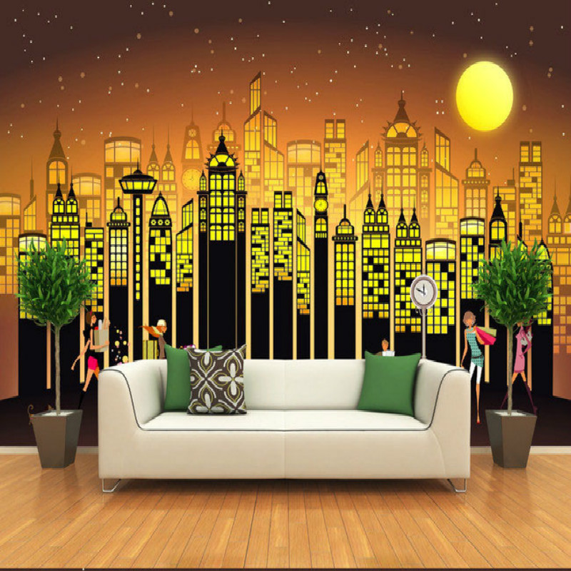 Cartoon drawing fashion night city wallpaper living room bedroom wallpaper murals backdrop painting three-dimensional wallpaper мужская классическая рубашка fashion city 2015new
