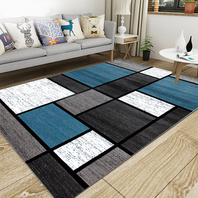Nordic Living Room Geometric Carpet Super Flannel Point Plastic Anti-slip Area Rug Winter Warm Thick Decor Bedroom Carpets Rug