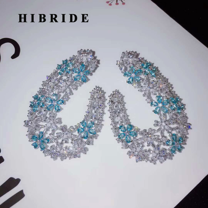 HIBRIDE Fashion Elegant Flower Shape Stud Earrings For Women Bridal Party Blue CZ Brincos Big Earrings E 904