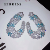 HIBRIDE Fashion Elegant Flower Shape Stud Earrings For Women Bridal Party Blue CZ Brincos Big Earrings E 904