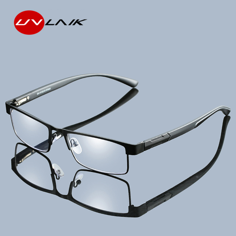 UVLAIK Men Titanium Alloy Reading Glasses Non Spherical 12 Layer Coated Lenses Retro Business Hyperopia Prescription Eyeglasses