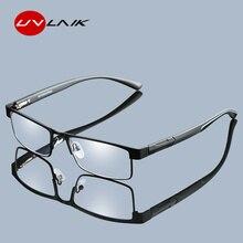 UVLAIK Для мужчин Титан сплава очки для чтения не сферические 12 Слои линзы с покрытием Ретро Бизнес дальнозоркости рецепта