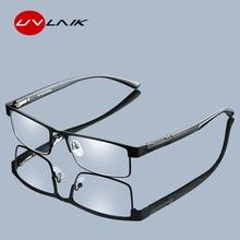 Gafas de lectura UVLAIK de aleación de titanio para hombre, no esférico, 12 capas recubiertas Retro, gafas graduadas para hipermetropía, paño