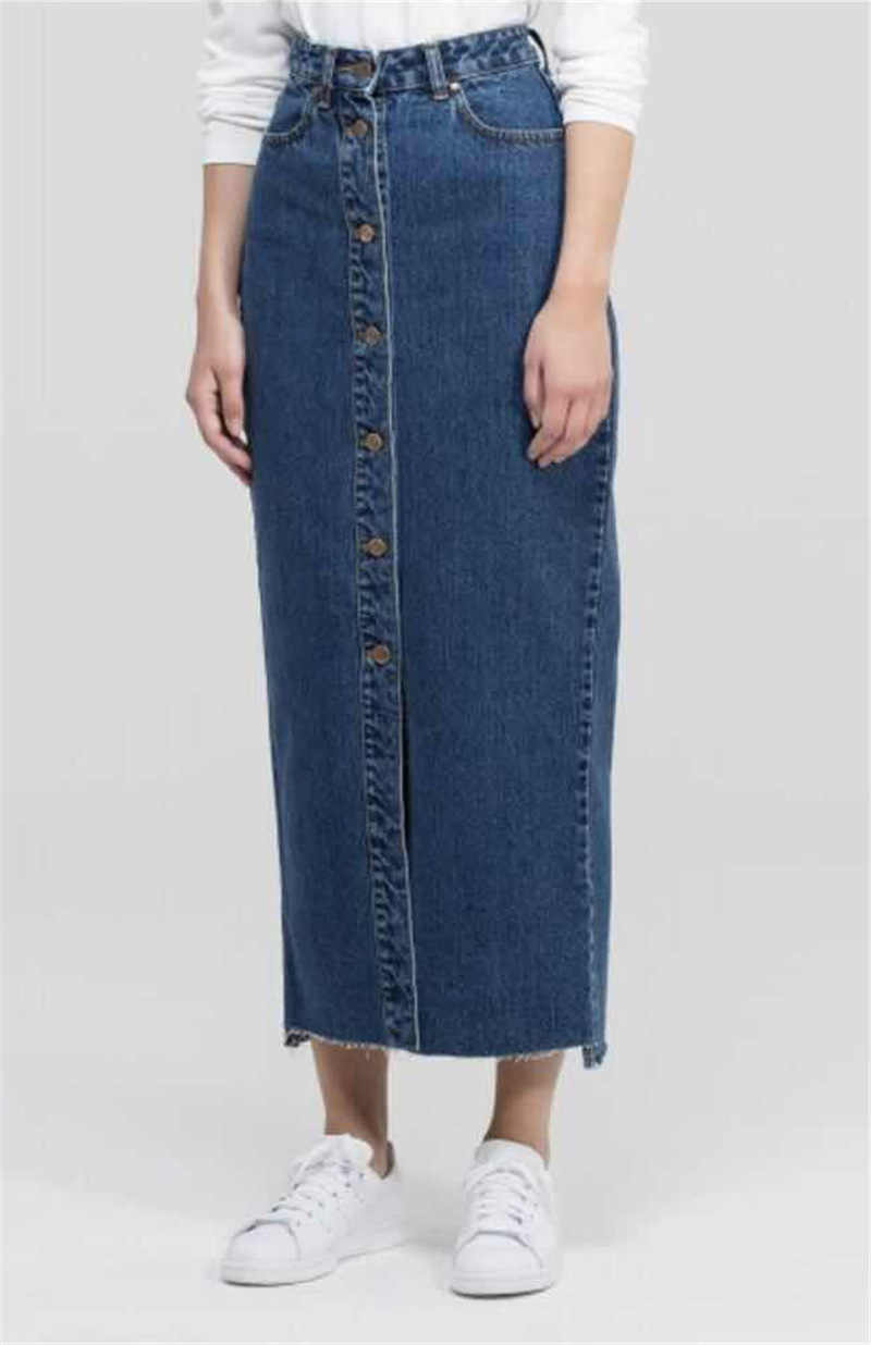 Дубай Стиль мусульманская женская длинная юбка деним Макси половина платье абайя кимоно марокканские африканские женские джинсовые Bodycon абайя повседневные джинсы