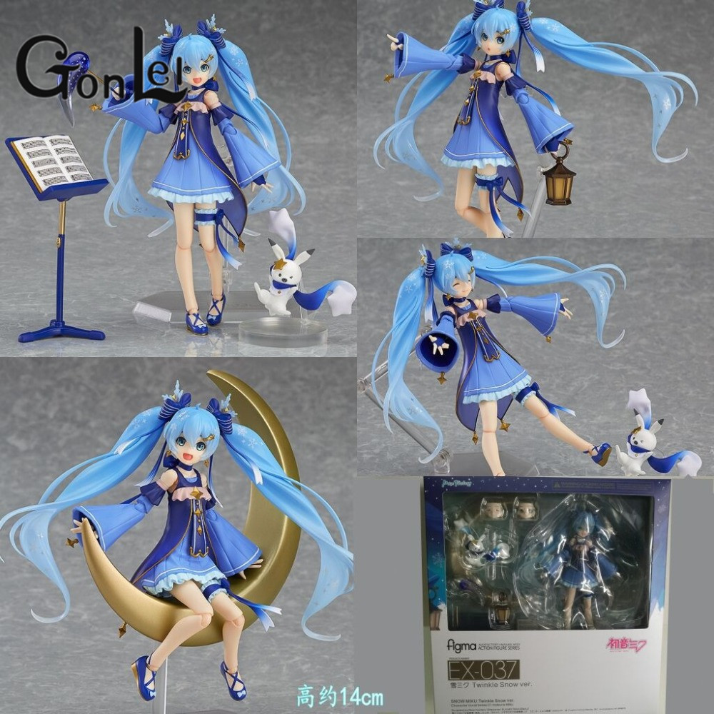 GonLeI Anime Hatsune Miku figma EX-037 Twinkie Snow Ver. Nendoroid PVC Action Figure Model Collection Toy Give The Girl a Gift anime vocaloid hatsune miku figma ex 037 twinkle snow ver pvc action figure collectible model kids toys doll 14cm