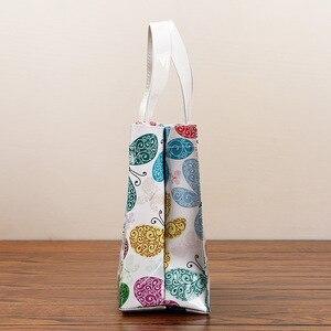 Neue schmetterling blume PVC wasserdichte einkaufstasche Frauen Reusable handtaschen Bento tasche Mummy tasche
