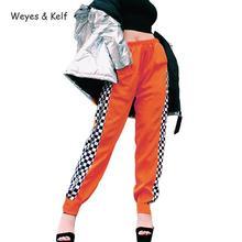 Weyes & Kelf Streetwear Full Elastic Waist Zipper Harem Pants Women 2018 Autumn Side White Black Plaid Trousers
