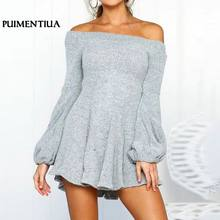 Puimentiua Fashion Off Shoulder Long Sleeve Solid Knit Dress Women Autumn Black Elegant Sweater Dress Female Sexy Party Vestidos(China)