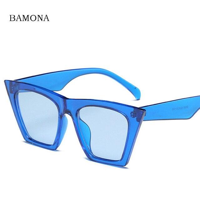 BAMONA Élégant Lady Cat Eye lunettes de Soleil Femmes Marque Designer  Gradient Lentille Flat Top Lunettes 89cfd354925b