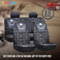 High Quality Skull Universal Bucket Seat Covers Steering Wheel Covers Seat Belt Covers Car Interior Decoration