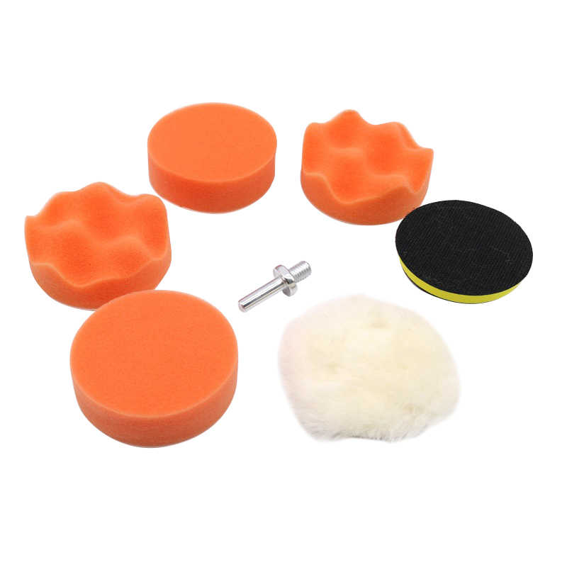 Car Polishing Waxing Kit Thread Self-adhesive Polishing Waxing Sponge Auto Wheel Sponge Buffing Pads Sanding Sealing Tools Set