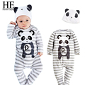 ÉL Hola Disfrutar de Bebé Mamelucos 2016 bebé ropa Ocasional otoño ropa de Bebé niña panda hats100 % algodón recién nacido en general mono